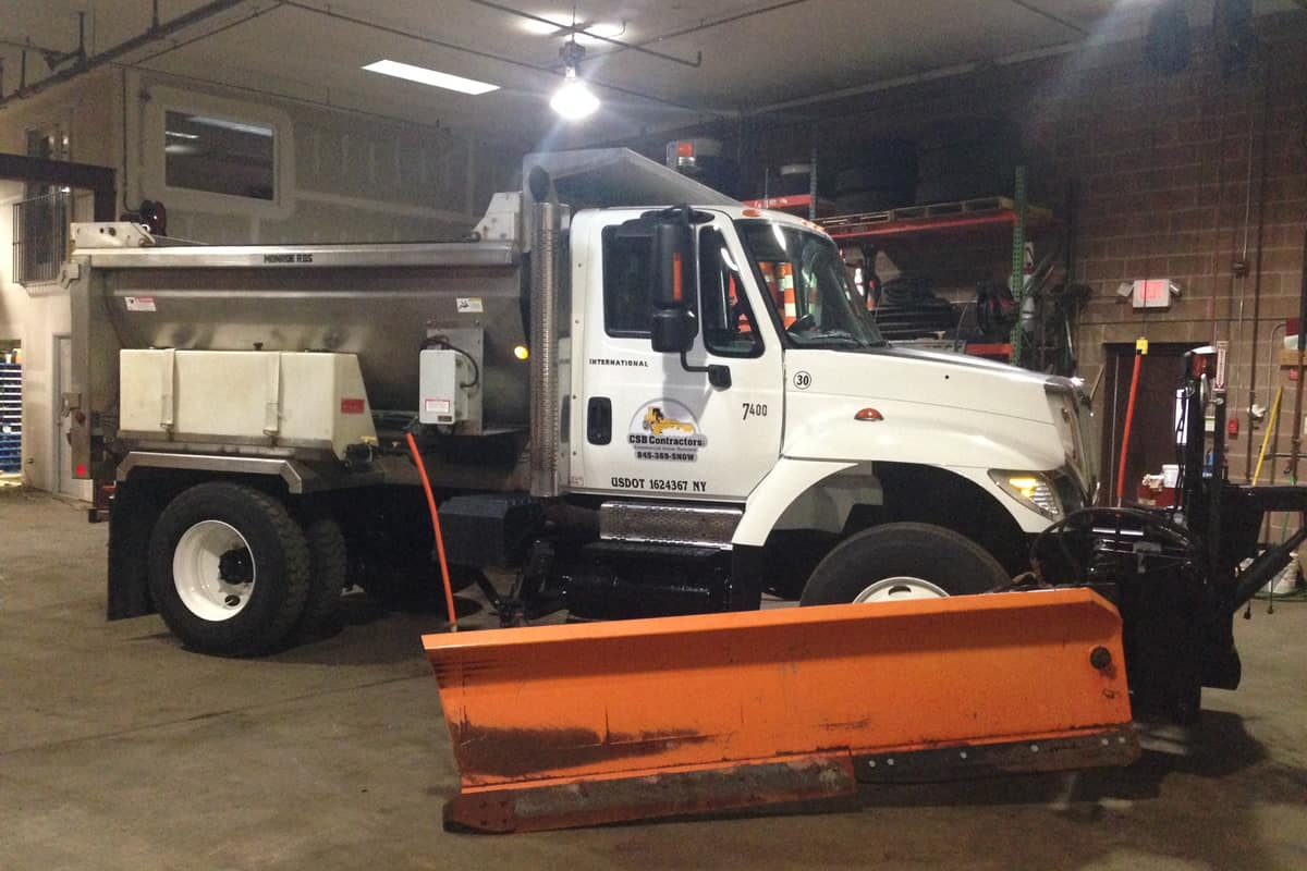 Heavy Duty Truck with Snow Plow at CSB Contractors