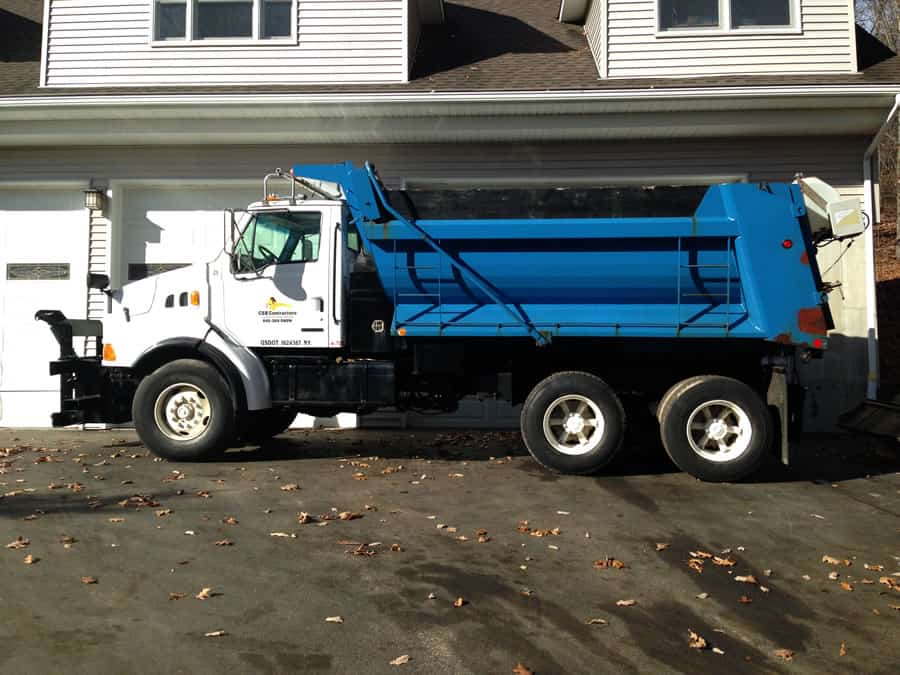blue & white heavy duty snow plow from CSB Contractors, Inc.