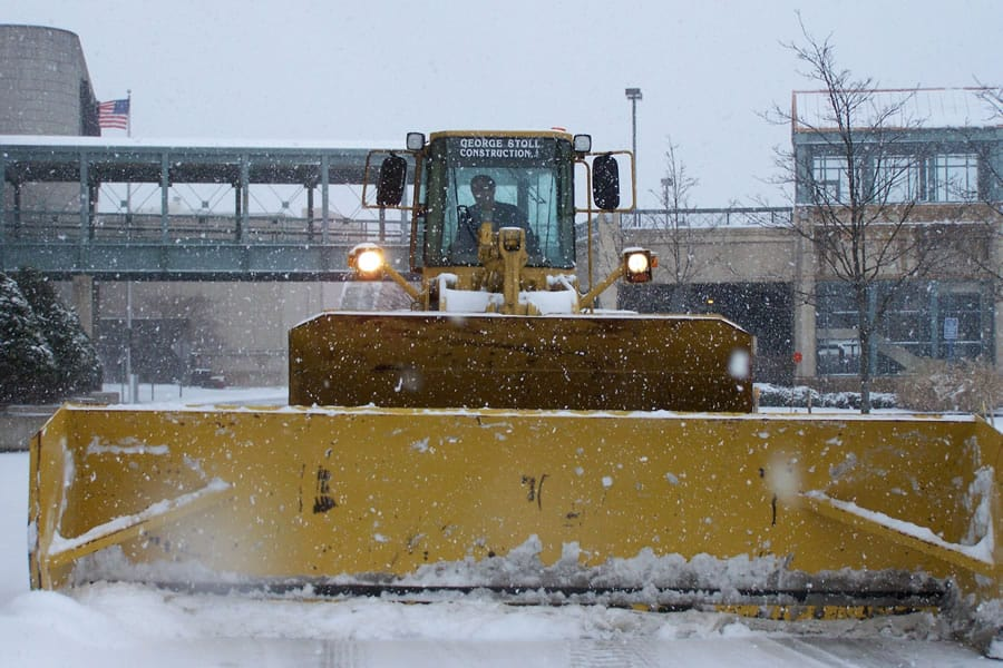 front angle of wheel loader with snow pusher - CSB Contractors, Inc.