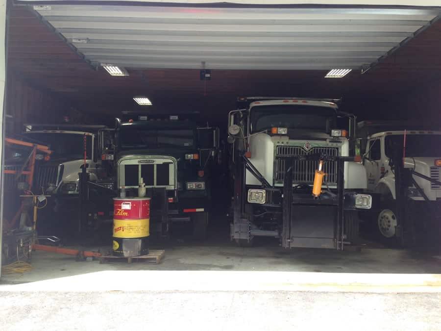 storing CSB Contractors, Inc. snow plow trucks