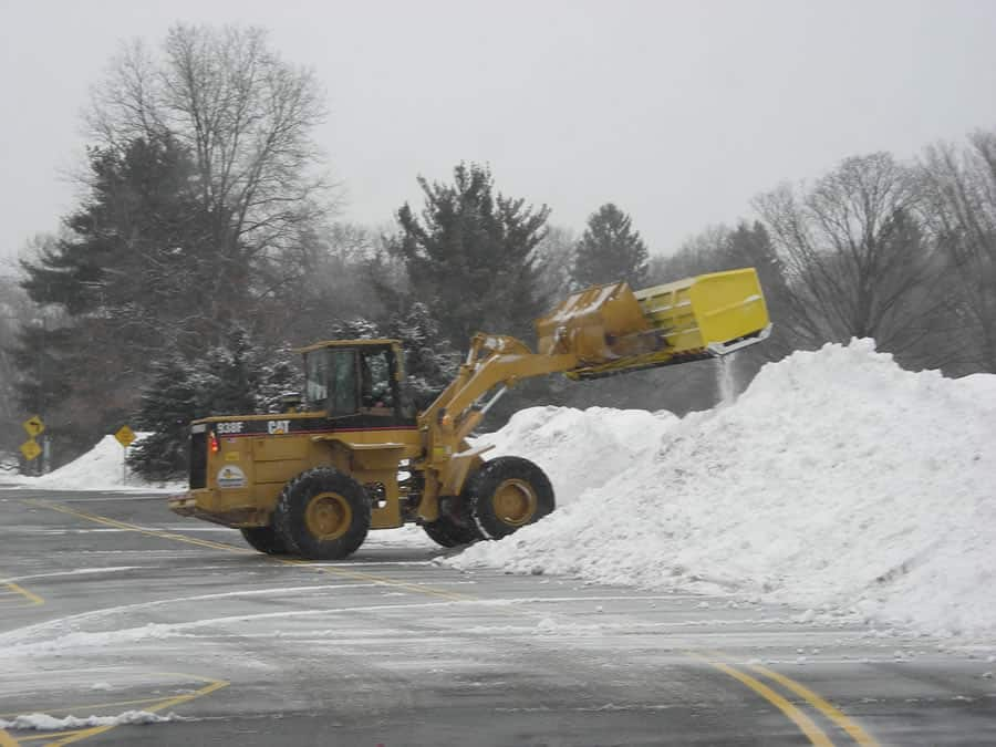 wheel loader moving snow from CSB Contractors, Inc.