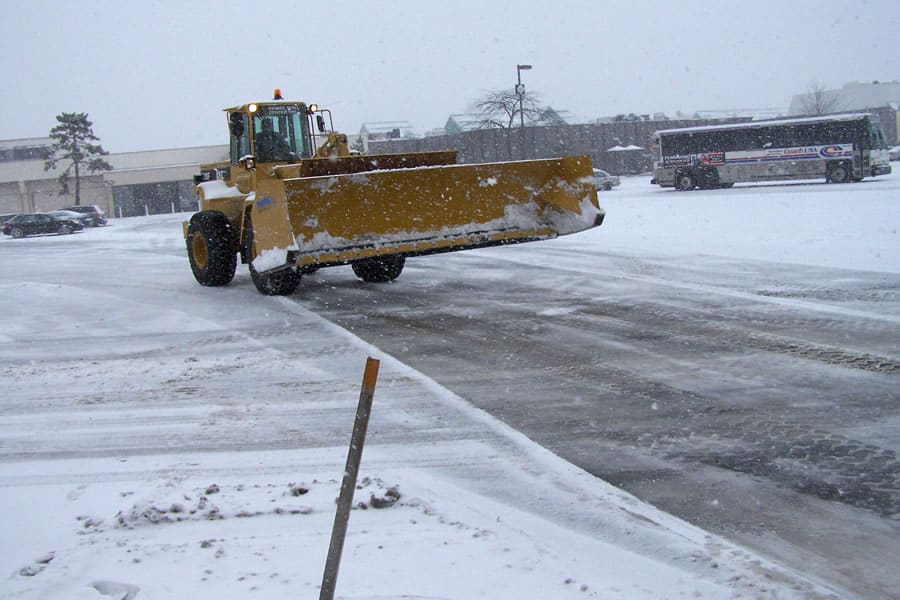 wheel loader snow pusher by CSB Contractors, Inc.